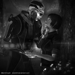 Heads and Hearts - Thane and Morgan Shepard - BnW by STan94