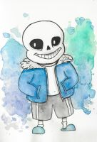 Sans from Undertale - watercolor by ehanset