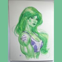 She hulk watercolor by MichaelDooney