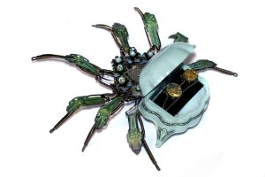 Steampunk Ring box Robot Spider Sculplture by CatherinetteRings