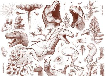 Mesozoic Sketch Dump - April 2016 by FredtheDinosaurman