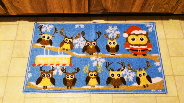 Christmas Owl Rug by ThatTMNTchick