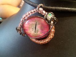 Simple Wrap edged in beads pink eye by BacktoEarthCreations