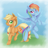 Comm - Rainbow Dash and Applejack by Dusthiel