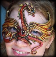 Red Gold Dragon Mask by Namingway