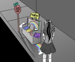 The Rainbow Bus Stop by 7AirGoddess3