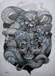 Foo Dog, Skull and snake by Xenija88