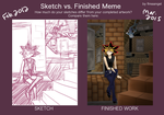 Sketch vs Finished Meme - Meikyuu by suishouyuki