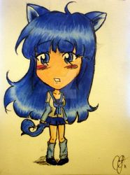 Blue Chibi Neko Nya by PurpleRainGirl