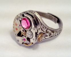 Pink Crystal Watch Ring by SteamDesigns