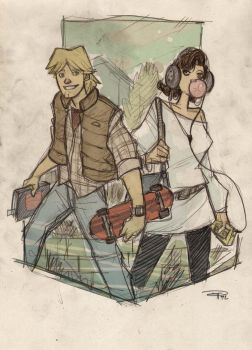 STAR WARS 80s High School Re-Design - Luke + Leia by DenisM79