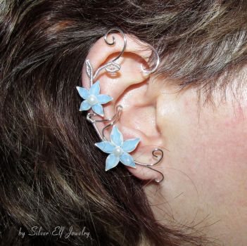 White Flowers, Swarovski Ear cuff by Lyriel-MoonShadow