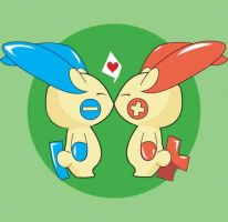 plusle and minun kissles