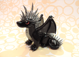 Black + Silver Egg Dragon by KuddlyKreatures