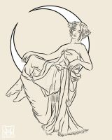 Mucha Style Goddess Tattoo by phantoms-siren
