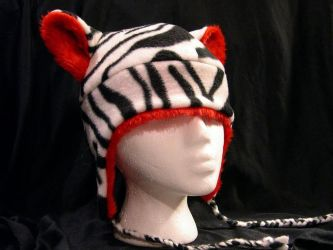 White Tiger Hat With Red Fur by kittyhats