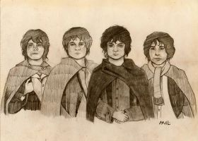 The four Hobbits by melissamyraf