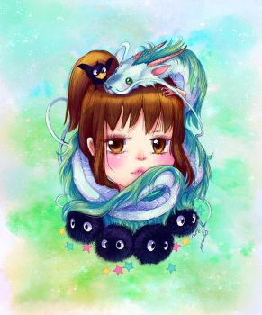 New Spirited Away digi painting by camilladerrico