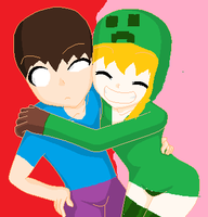 Herobrine and Cupa the Creeper by RichardtheDarkBoy29