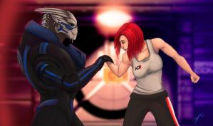 Garrus and Shep ... by Shaya-Fury