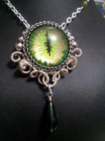 Earth eye in Silver Coiled Wire with Green Drop by BacktoEarthCreations