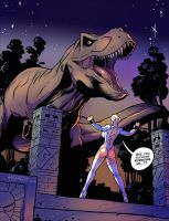 Powergirl 2016 vs. T-Rex by firstedition