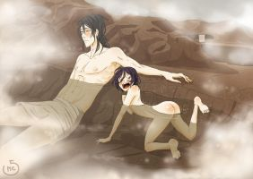 In the hotspring by MirariChan