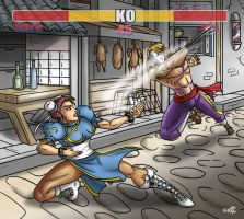 Chun Li vs Vega by geekling