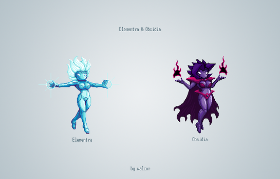 Elementra and Obsidia by walcor