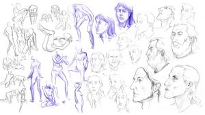 Body- and portrait sketches by InsaneNudl