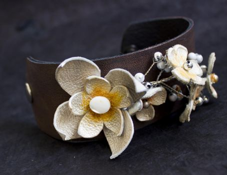 Elegant floral leather cuff bracelet OOAK designer by julishland