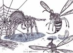 Giant spider vs Mutant wasps by XenoTeeth3