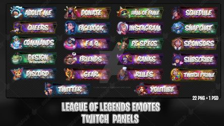 League Of Legends Emotes - Twitch Panels #2 by lol0verlay
