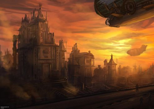 Steampunk City by cha4os