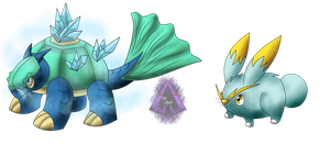 Nijitaki Fakemon! 103 Electrice and 107 Crystoise by ArkaDark