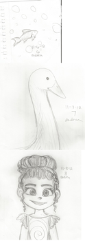 Sketchvember 6,7, and 8: Fish, Duck, Sugar Rush. by chucklepink