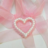 Tender love delicate beaded heart pendant necklace by YANKA-arts-n-crafts