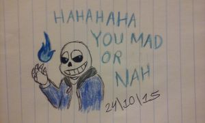 (Inktober Day 14) Sans: Hahaha, you mad or nah? by Revenir-Ghoul