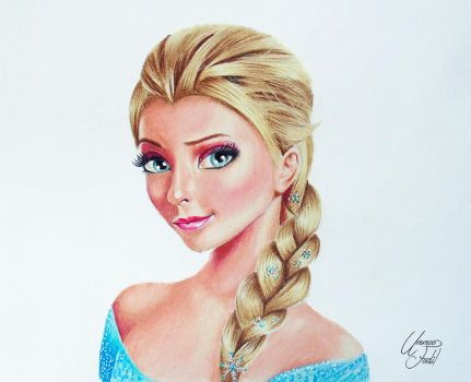 Elsa From the movie frozen - Colored pencils by f-a-d-i-l
