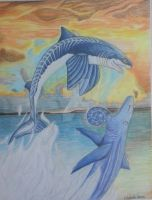 Cladoselache and Helicoprion by Lizgigler