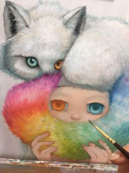 Fox Painting WIP by camilladerrico