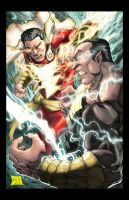 Captain Marvel vs Black Adam colored by hanzozuken