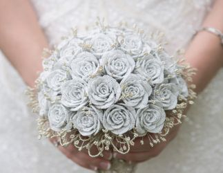 White and Gold Beaded Rose Wedding Bouquet by slightly-caustic