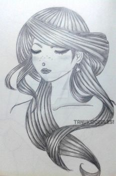 Girl with freckles pencil sketch by ksolaris