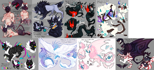 Collection of Mini Monster Mashup Sketches by KngCorvidae