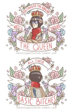 Queen Mikasa Totes and Mini Zip Bag Design by IdentityPolution