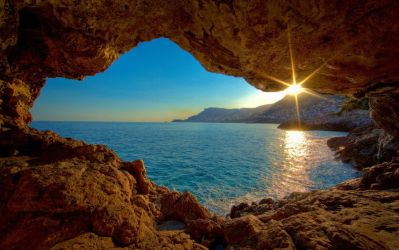 Ocean Cave Looking Upon Morning Sunrise by ROGUE-RATTLESNAKE