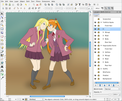 Ayaka and Asuna in Inkscape by halley