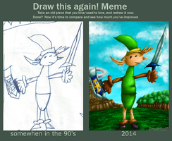 Link childhood redraw [Draw this again meme] by Dragonfunk7