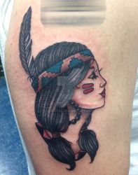 Native American Girl Neotrad Tattoo by JopieLee